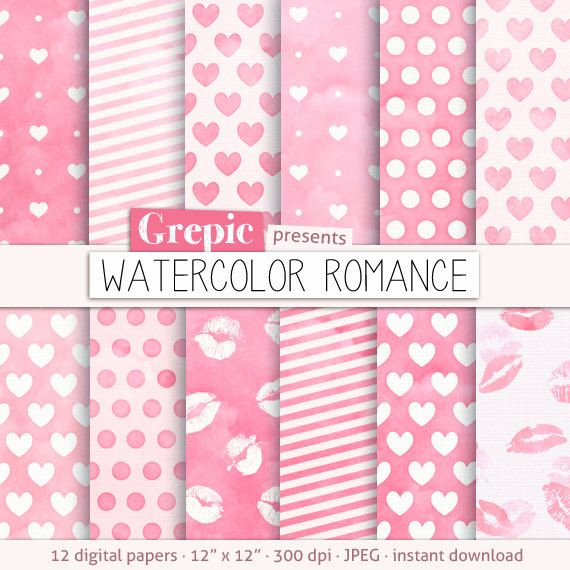 Love digital paper WATERCOLOR ROMANCE with hand drawn by Grepic https://www.etsy.com/listing/151452685/love-digital-paper-watercolor-romance?ref=shop_home_active_12