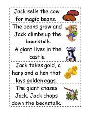 English worksheet: Jack and the beanstalk story word order