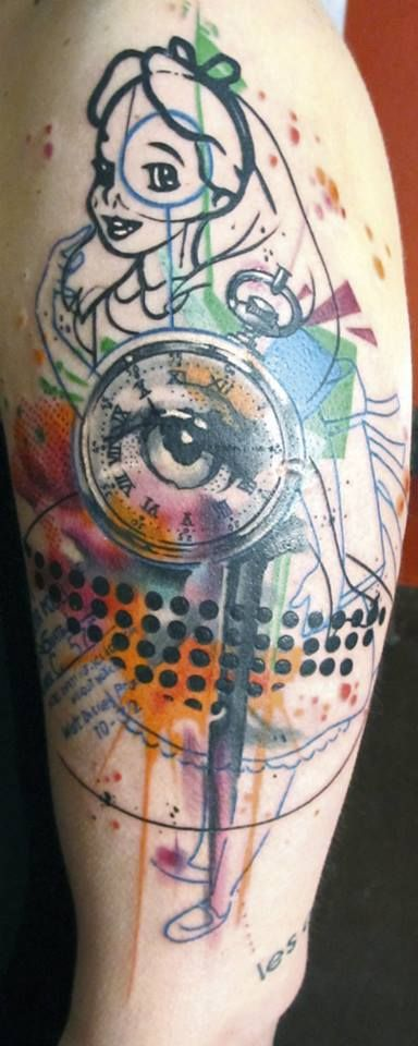Alice in wonderland tattoo - so original and different! Love the combination of styles.