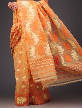 Beige-Orange Cotton Jamdani Saree