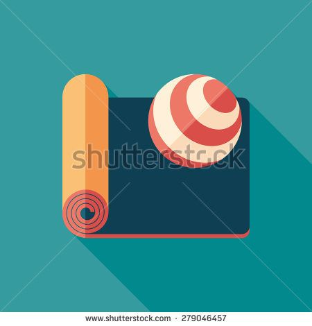 Mat and exercise ball flat square icon with long shadows. #sport #sporticons #flaticons #vectoricons #flatdesign