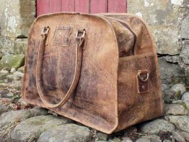 Gorgeous! Vintage Leather Travel Holdall Bag from Scaramanga