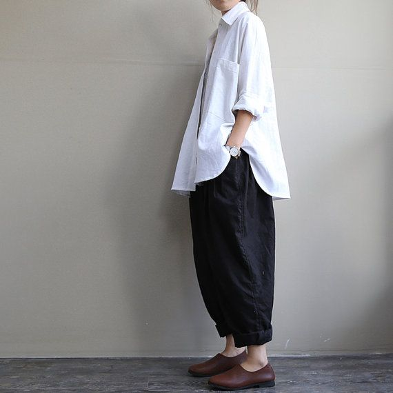 loose white and black  linen blouse shirt - long sleeve shirt -Plus size - autumn AOLO-384