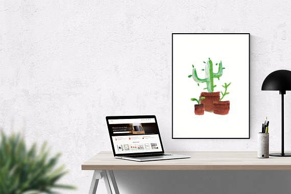 Fun cactus illustration by Northbound Trail.  ☆ Sizing details A2 Paper Size measures 420mm (width) x 594mm (height), or 42cm x 59.4cm or 16.5inches x 23.4inches.  The US alternative to A2 is called ANSI C and measures 17 × 22″, or 432 × 559 mm.  ☆ Resolution Recommended resolution for printing A2 sized files or smaller is 300dpi. Anything above this doesnt make much difference to the output quality, and will only add to the processing time.  ☆ CMYK All designs are post-processed in CMYK…