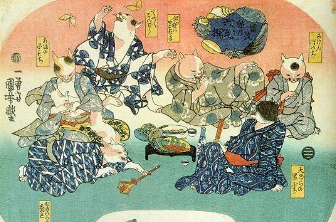 Cats Picnic by Kuniyoshi