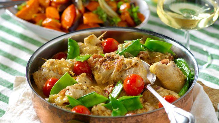 Kyckling fylld med mozzarella och salami – recept