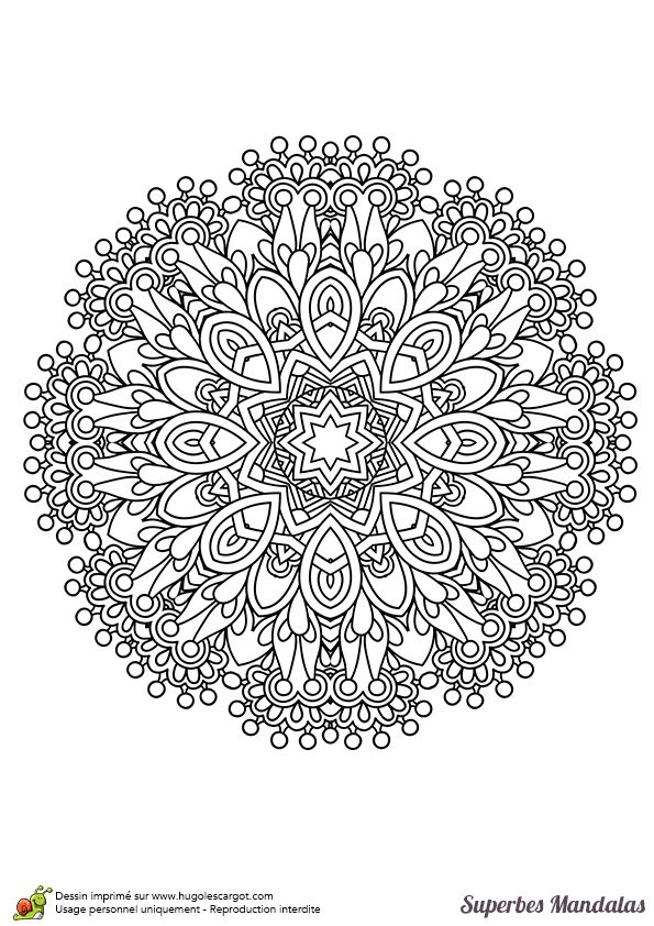 Coloriage d'un superbe mandala en forme de fleur avec un enchevêtrement de motifs - Hugolescargot.com