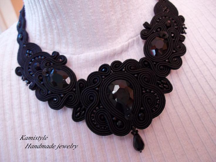 blak necklace  soutache