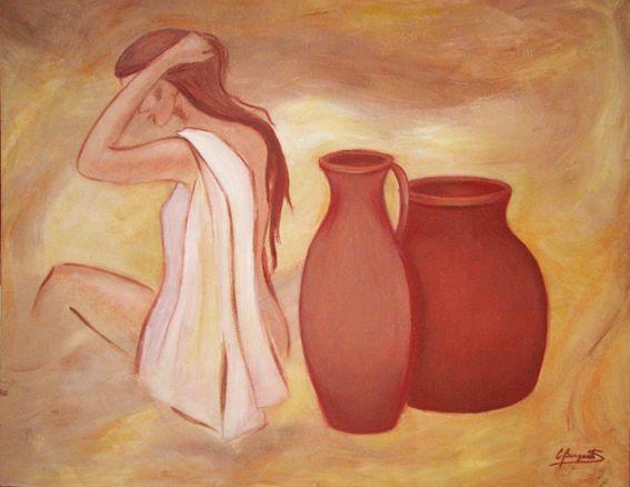 Mujer con vasijas, técnica mixta sobre tela, 81 x 100 cms. @copyright Carolina Busquets.