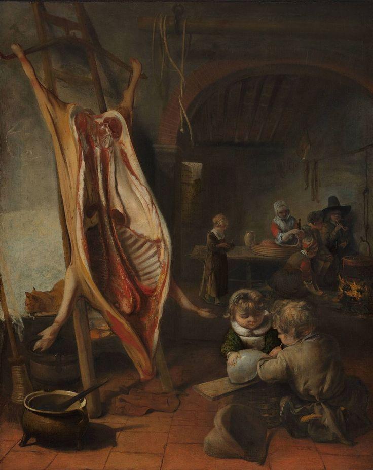 Barent Fabritius, Interieur met een opengespalkt varken op de leer, 1665 | Museum Boijmans Van Beuningen. Mogelijk vond Barent Fabritius zijn inspiratie voor dit doek met een geslacht varken in Rembrandts beroemde werk van een geslachte os dat in het Louvre in Parijs hangt. Het onderwerp was echter al sinds de 16de eeuw populair, dus het is ook goed mogelijk dat een schilderij van een andere meester als uitgangspunt diende.
