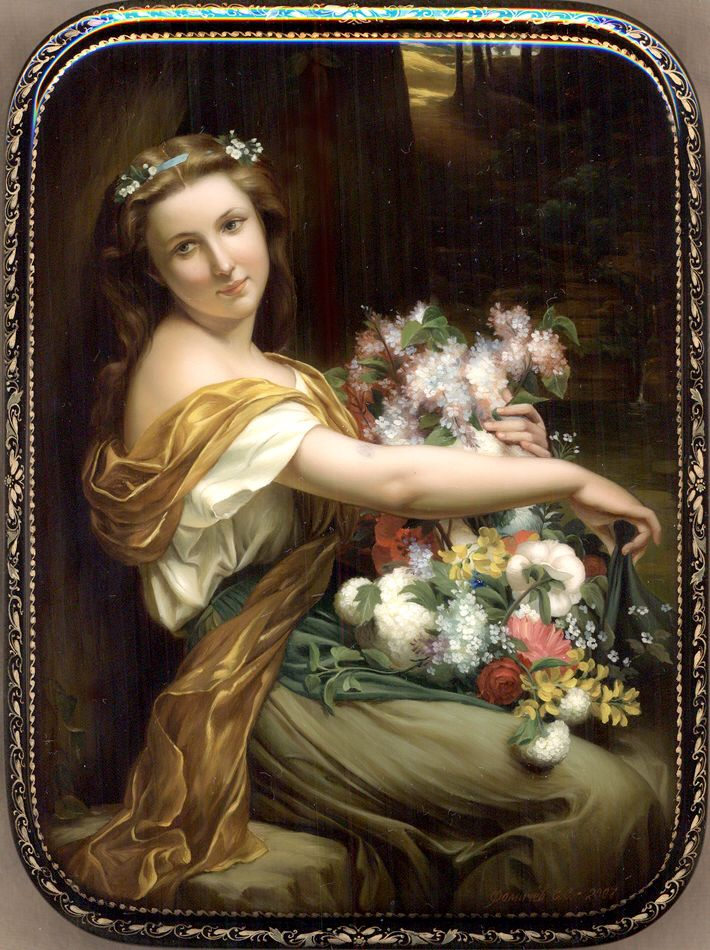 """""""Girl With Flowers"""" Lacquer Art by Sergey Fomichov (Fediskino)"""