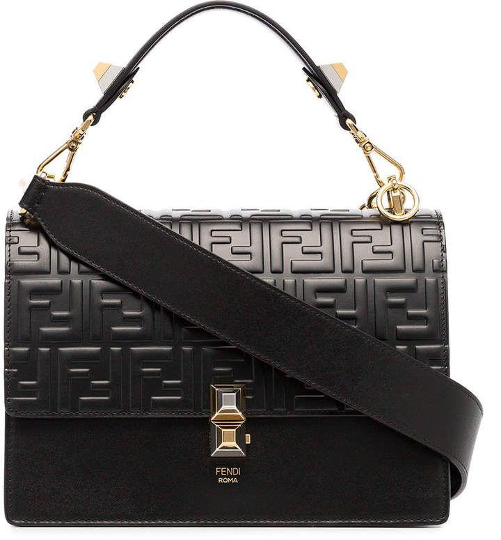 2247644f0 Black calf #leather Kan I Double F #Shoulder #Bag from #Fendi ...