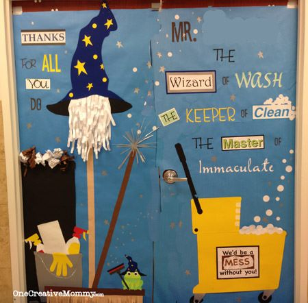 25 Teacher Appreciation Door Ideas from OneCreativeMommy.com {Janitor Cleaning Theme}