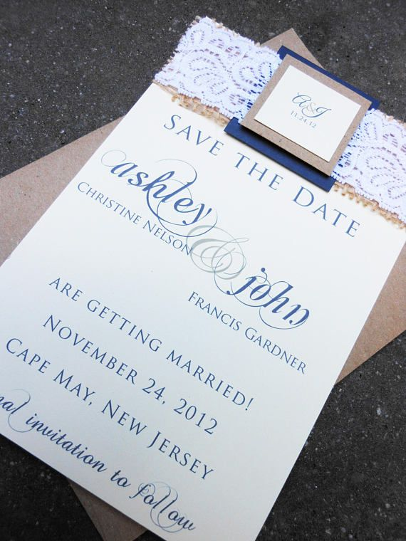 Save the date. Wedding save the date. Rustic wedding. Burlap. Lace. https://www.etsy.com/listing/161579235/save-the-date-custom-save-the-date