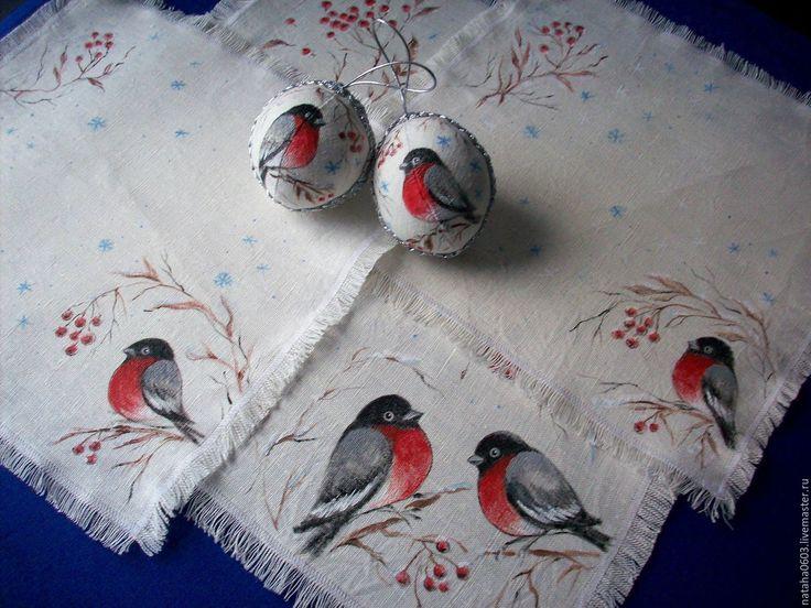 Купить Снегири...Льняные салфетки и шарики с росписью. Новогодний подарок. - ярко-красный, снегирь, снегири