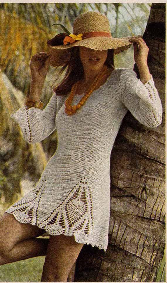 Vintage Crochet Pattern Pdf 1970s BOHO MINI DRESS and trousers/pants