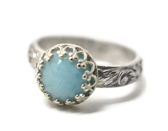8mm Larimar Ring Natural Gemstone Engagement Ring by fifthheaven $95 00 I a