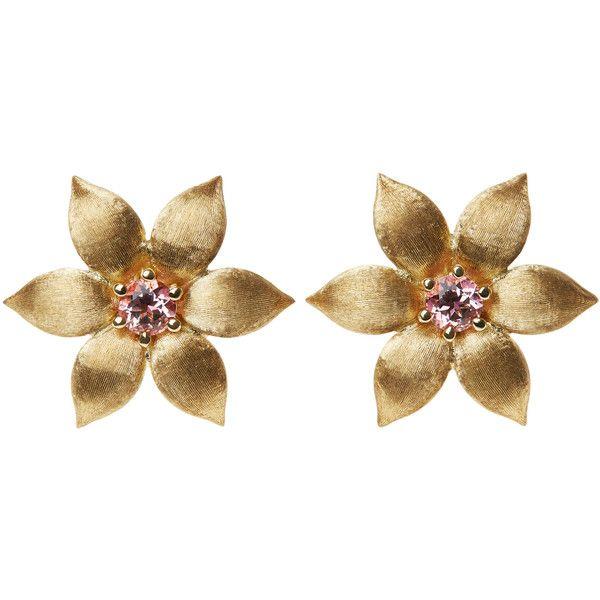 La Perla Garden Jewels Gold & Pink Topaz Flower Earrings ($2,910) ❤ liked on Polyvore featuring jewelry, earrings, engraved earrings, yellow gold jewelry, earring jewelry, flower earrings and jeweled earrings