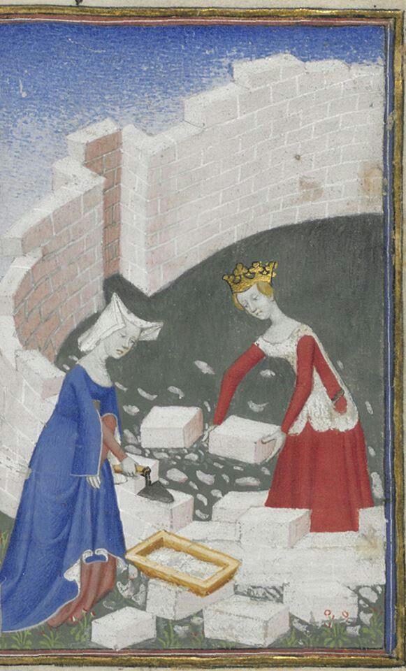 Livre de la Cité des dames, c. 1401-1500, Français 607, f. 2r, Bibliothèque nationale de France, Département des manuscrits. http://gallica.bnf.fr/ark:/12148/btv1b6000102v/f11.item