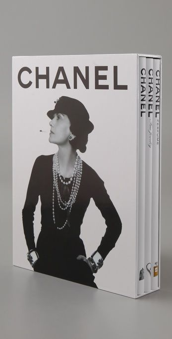 Set of three Chanel books - Assouline s completely updated trilogy of July 2013 unfolds the spirit and heritage of the house of Chanel, from Coco s revolutionary designs to Karl Lagerfeld s present innovations. This elegant slipcase set includes three memoir volumes celebrating Mademoiselle s revolutionary style: Chanel Fashion, Chanel Jewelry, and Chanel Perfume.