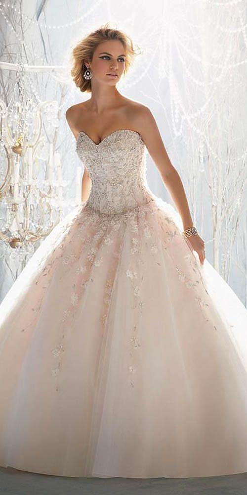 18 peach blush wedding dresses you must see 5