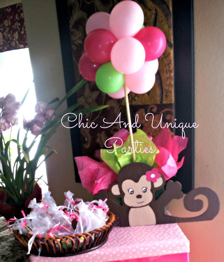 Unique Baby Shower Centerpieces | Monkey Centerpiece with Balloon Topiary
