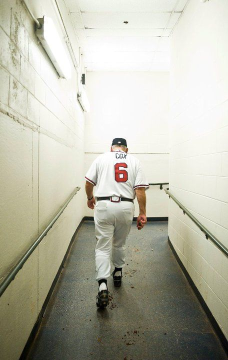 Bobby Cox, walking back up the tunnel after his final game as Manager of The Atlanta Braves, 2010