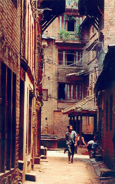 A city street at Durbar Square in Kathmandu, Nepal.