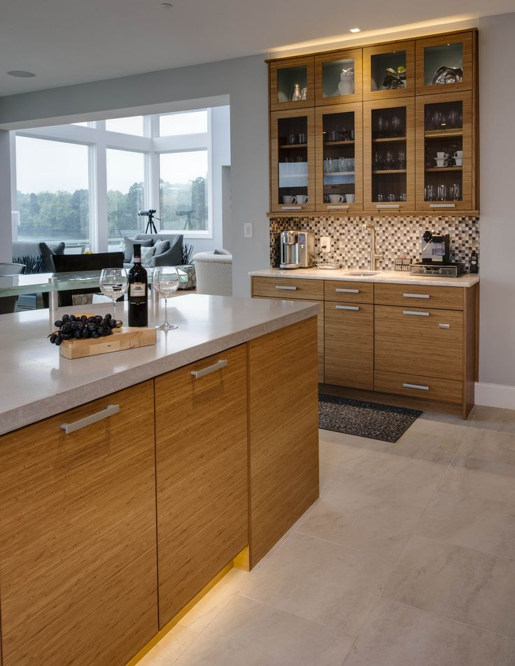 Bentwood Cabinetry, Bamboo Cabinets, Open Floor Plan, Islands, SubZero Wolf  Appliances,