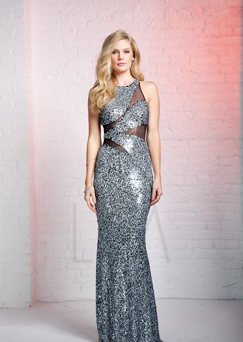 Black cutout pleated lace prom dress