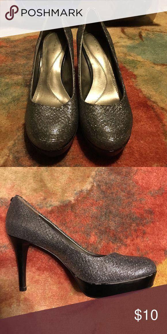 "Silver sparkle heels Silver sparkles heels, worn once, 3.5"" heel. Will take best offer! Tahari Shoes Heels"