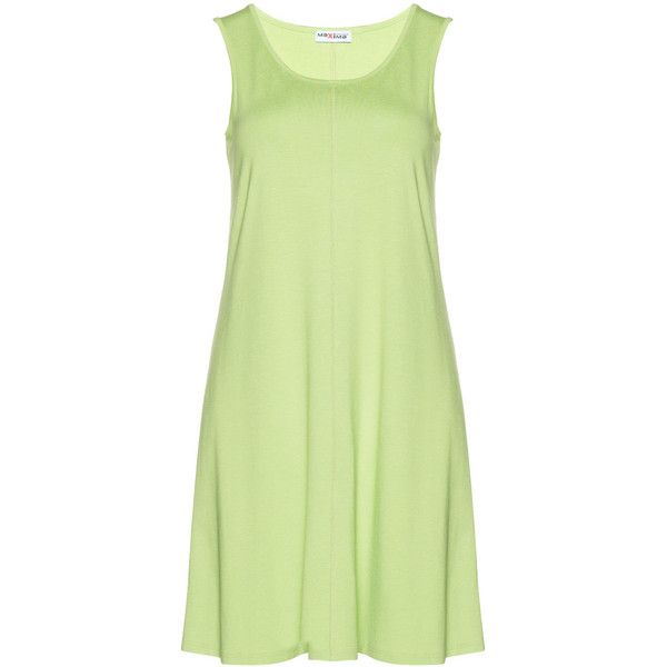 Maxima Light-Green Plus Size Sleeveless dress ($84) ❤ liked on Polyvore featuring dresses, plus size, sleeveless dress, light green dress, plus size dresses, womens plus dresses and round neck dress