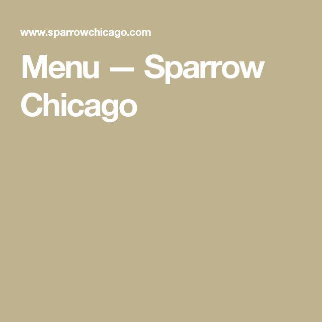 Menu — Sparrow Chicago