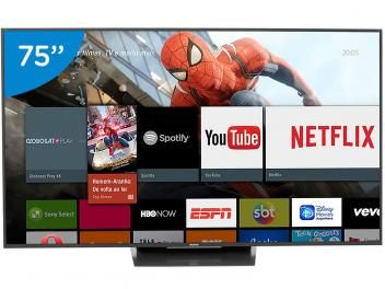 "Smart TV LED 75"" Sony 4K/Ultra HD XBR-75X855D - Conversor Digital Wi-Fi 4 HDMI 3 USB"