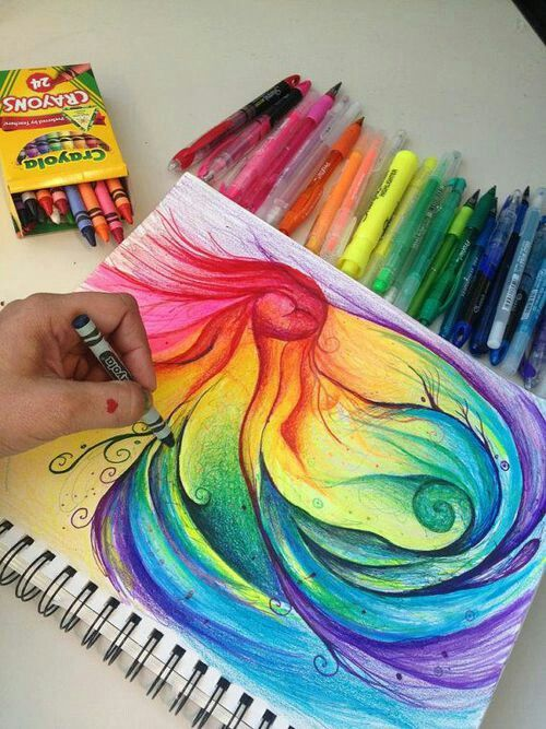 Pretty painting idea for any kind of paint. But this is crayon art! I love crayon art! Is this pretty or what?! My crayon drawings don't look like that! I am going to have to try harder! This is beautiful. Swirls of rainbow colors worthy of being framed. Please also visit www,JustForYouPropheticArt.com for more colorful art you might like to pin. Thanks for looking!
