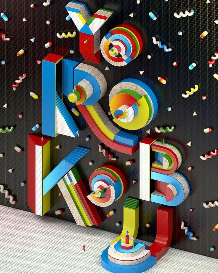 Loving the #3D #typography work of @muokkaa. This one is for @yorokobu magazine.