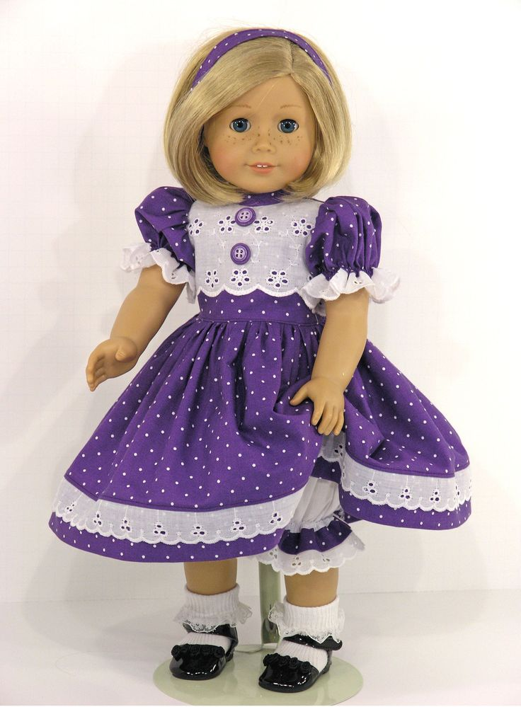 Handmade American Girl Purple Dot 18 inch Doll Dress - Exclusively Linda Doll Clothes