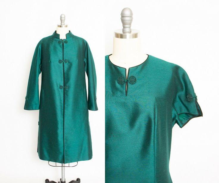 Vintage 1960s Ensemble chinesischer grün Seide Kleid Jacke ...