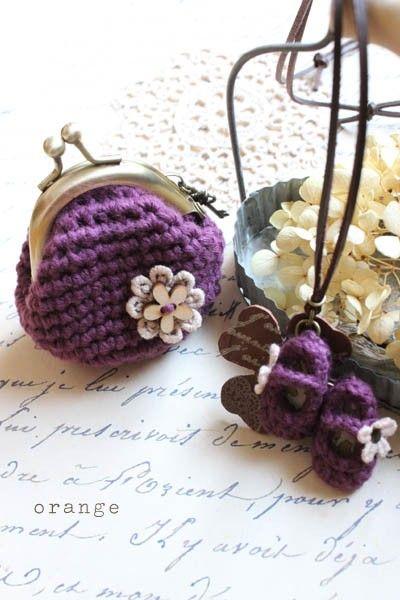 croshet mini shoes and purse