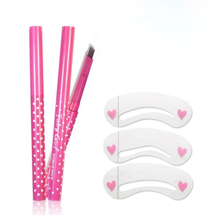 Nieuwe Waterdichte Wenkbrauwpotlood Met Eye Brow Card Tool Lady Roterende Wenkbrauwpotlood 3 Wenkbrauw DIY Wenkbrauw Pen Make Set