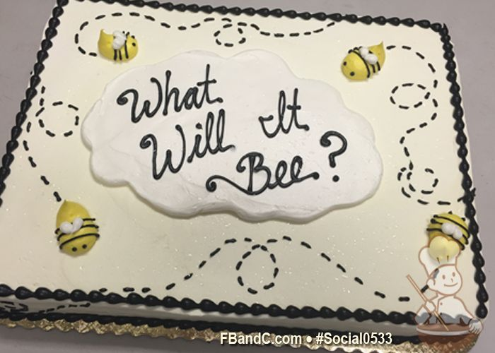 Design Social0533   Butter Cream Cake   1/2 Sheet   Serves 30-40   Hand piped Butter Cream Details, Baby Shower Bees   Custom Quote