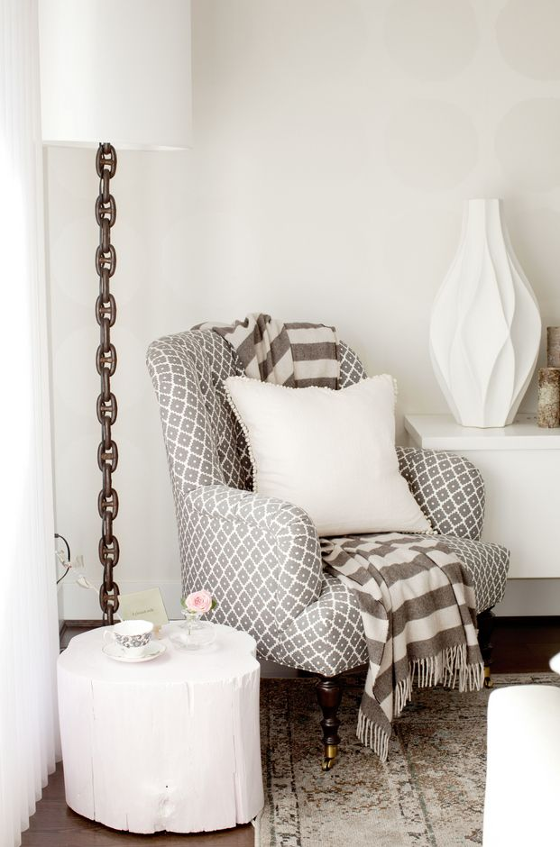 Love it all! Lamp, chair, throw, pom poms, rug...Ravenwoods Drive | The Cross