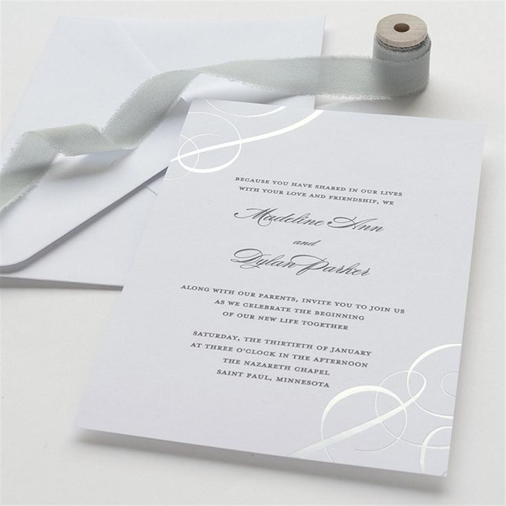 box wedding invitations online%0A Silver Foil Swirls Wedding Invitation