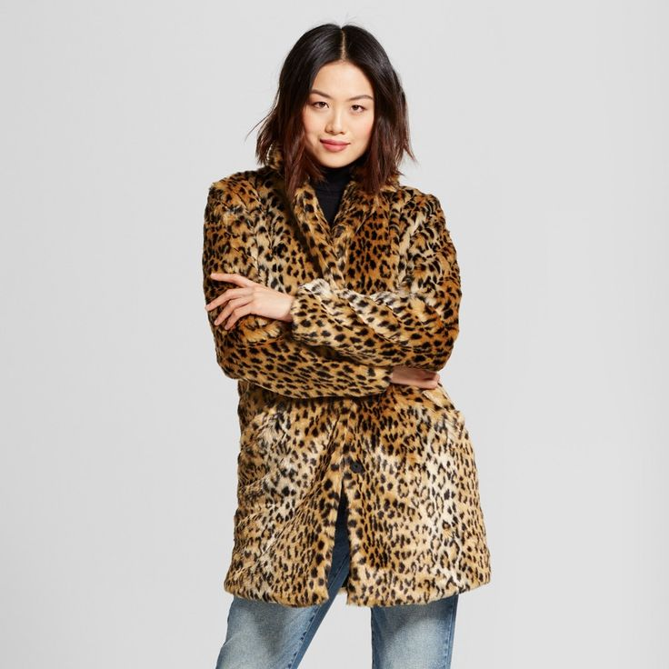 Women's Leopard Faux Fur Coat - A New Day Animal Print #target