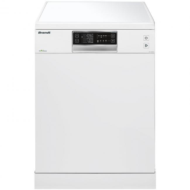 Lave vaisselle Brandt DFH13526W, Largeur 60 cm (13 couverts) - 46 dB, Consommation d'eau 10 L/cycle - Classe A++, Départ différé 12 heures, Programme verres - Programmes intensif