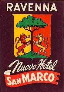Ravenna Italy Nuovo Hotel San Marco Vintage Luggage Label [ #ravenna #myRavenna #illustrator #vintage #posters]