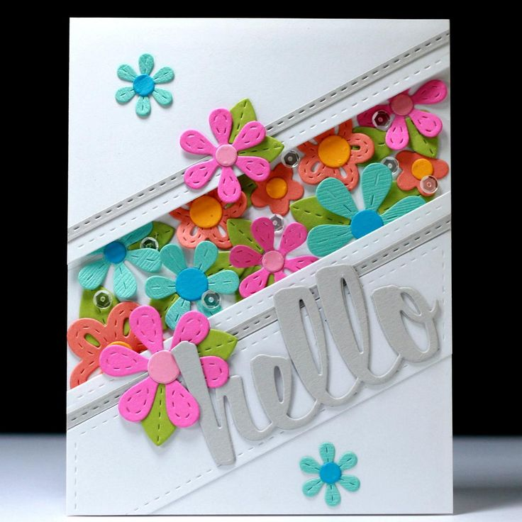 Card by Lisa Harrolle  (061015)  [Lil' Inker Designs  Hello, Long & Skinny Rectangles, One the Diagonal, Perky Posies]