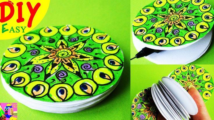 DIY Как сделать БЛОКНОТ рисуем ЗЕНДУДЛИНГ маркером   How to Make a Paper Notebook Doodling Mandala