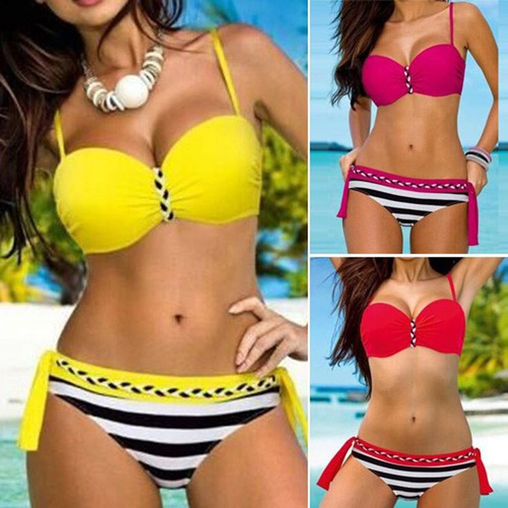 P&j Tanga Bikinis Women Push Up Swimsuit Sexy Halter Swimwear Bathing Suits Brazilian Beach Biquini 2017 Maillot De Bain Femme