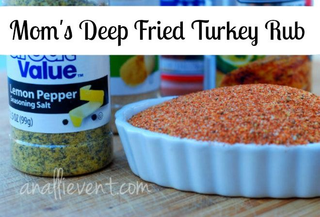 We always deep fry our turkey for Thanksgiving and my mom has the best deep fried turkey rub!  It seasons the turkey perfectly and helps create a beautiful crust.